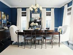 Marvelous Blue Wall Painting In Romantic Dining Room Decors With Dark Brown  Table And White Slipcover Dining Chairs Ideas