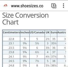 International Shoe Sizes Conversion Chart