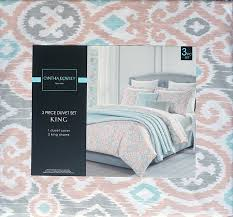 com cynthia rowley 3 piece duvet cover set exotic medallion pattern gray blue pink king size bedding home kitchen