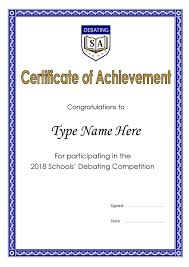 Samples Of Certificates Of Participation Participation Certificate Debating Sa Incorporated