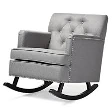 grey rocking chair. Modren Rocking Amazoncom Baxton Studio Bethany Modern U0026 Contemporary Fabric Upholstered  ButtonTufted Rocking Chair Grey Kitchen Dining To Grey Chair
