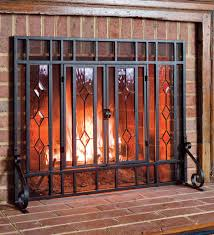 38 w x 31 h beveled glass diamond fireplace screen with powder coated
