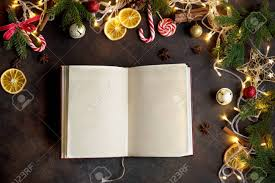 Blank Christmas Background Christmas Background With Vintage Blank Open Book Decor Lights