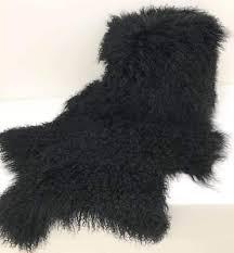 mongolian fur rug throw tibetan lambskin fur hide pelt curly hair carpet black
