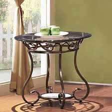adeco glass top bronze metal base round end side table