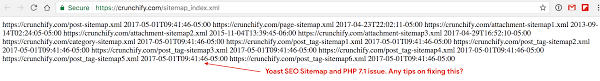 yoast seo sitemap xml and php 7 2 namee rendering error sitemap render as plain text in browser