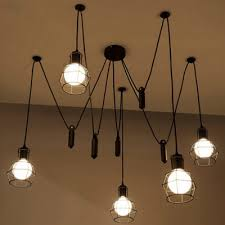 hanging pendant lighting. Retro Black 5 Light LED Hanging Pendant With Cage Shade Lighting L
