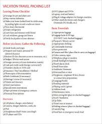 Vacation Travel Packing List Tourism Company And Tourism