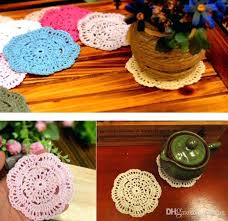 vintage handmade round table mat crochet coasters doilies cup pad props mate full size