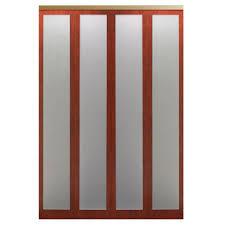 impact plus 54 in x 96 in mir mel cherry red mirror solid core mdf interior closet bi fold door with gold trim