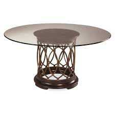 a r t furniture intrigue glass top round dining table dark wood with maple stringer inlay hayneedle