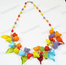 details about birds leaves fruit multi murano glass bead necklace vintage red orange bird leaf