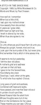 old time song lyrics for a stitch in time saves nine music lyrics as png graphic file