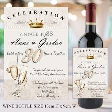 wedding bottle label personalised 30th pearl wedding anniversary wine champagne bottle