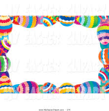 easter stationery clip art of a white stationery background bordered with colorful