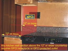 kitchen gfci receptacle required above 12 inch or wider countertop