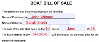 Standard Bill Of Sale For Boat Free Boat Vessel Bill Of Sale Form Pdf Word Eforms