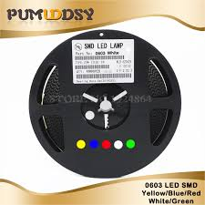 <b>1Reel 4000pcs 0603 SMD</b> LED diodes light Yellow Red Green Blue ...