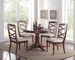 Cherry Wood Finish Modern Casual Dining Room Round Pedestal Base