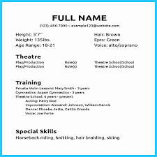 Acting Resume Template No Experience Fresh Impressive Actor Resume