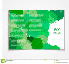 ecology concept tri fold brochure template stock vector image watercolor styled painted background design stock image