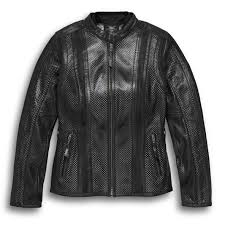 women s venos perforated leather jacket with coolcore technology