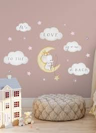 elephant on moon decal baby room wall