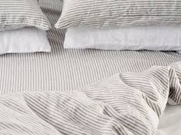 ultra luxurious 100 pure french double sided linen quilt cover in milk stripes