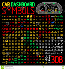 Car Warning Lights Vector Collection Of Car Dashboard Panel Indicators And