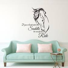 horse head stickers wall decal saddle ride living room home decor sayings