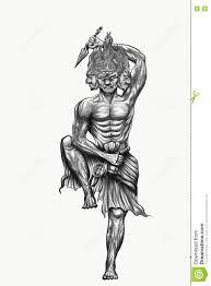 черно белое Titon бога татуировки японии иллюстрация штока