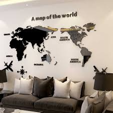 World Map Acrylic 3d Solid Crystal Wall Sticker Bedroom Wall With Living Room Classroom Stickers Office Decoration Ideas