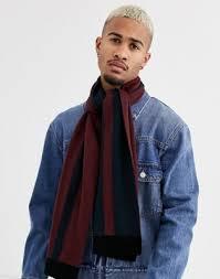 Бордовый/темно-синий <b>шарф</b> в полоску <b>Topman</b> | ASOS