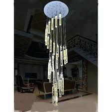 long pendant light stairs lights lamp bubble crystal column living room led villa large wooden uk