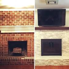 refacing brick fireplace covering a brick fireplace with stone best refacing ideas on reface diy refacing refacing brick fireplace