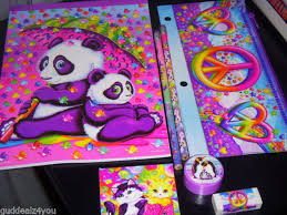 lisa frank 7 piece sketchbook set panda kittens peace signs pencils eraser