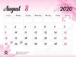 August 2020 Year Template Calendar 2020 Desk Calendar Design