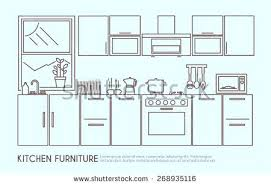 kitchen furniture names. Kitchen Furniture Names Modern Interior Design With Utensils And Decor Outline Vector Illustration U
