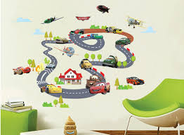 car on rail racing wall art decal sticker kids room nursery mural