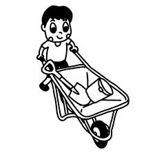 一輪車猫車で荷物を運ぶ子どものイラスト 白黒ヤギさん フリー素材