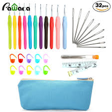 crochet hook set 32 pack with ergonomic soft handles knitting needle crochet case accessories kit gifts for beginners knitting