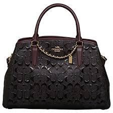 Coach Signature Debossed Patent Small Margot Satchel in Black Oxblood