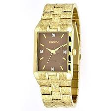 elgin mens watch diamond accents square brown dial and elgin mens watch diamond accents square brown dial and goldtone expansion band