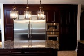 kitchen lighting pendant ideas. Ideas. Splendid Home Kitchen Design With Marble Top Island And Silver Refrigerator Wooden Lighting Pendant Ideas R