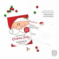 Christmas Party Save The Date Templates Save The Date Card Save The Date Christmas Party Invitation Birthday Party Santa Santa Claus Printable Card Instant Download