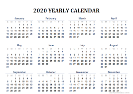Printable 2020 Calendar For Your Yearly Trip Infocalendars Com