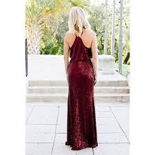 Elegant Long Gown Design 2018 2018 New Burgundy Sequins Bridesmaid Dress Spaghetti Strap Floor Length Elegant Long Wedding Party Gowns Cheap Women Dresses Designer Bridesmaid