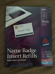 Avery Templates 5390 Avery Name Badge Insert Refills 400 Inserts 5390