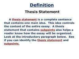 What Is Thesis In Essay The Thesis Statement A Road Map For Your Essay Essay