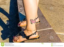 Colorful Butterfly Tattoo On Ankle Stock Image Image Of Pedicure
